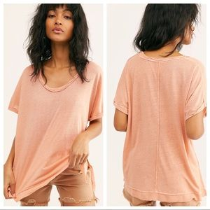 NWT Free People Under The Sun Tee in Peach Pit
